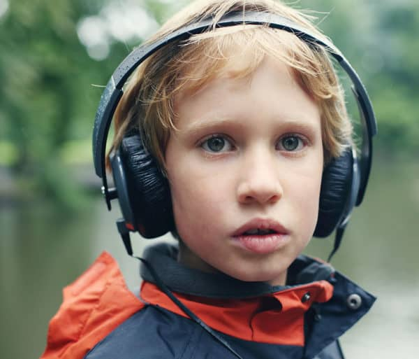 Portrait of cute boy with headphones