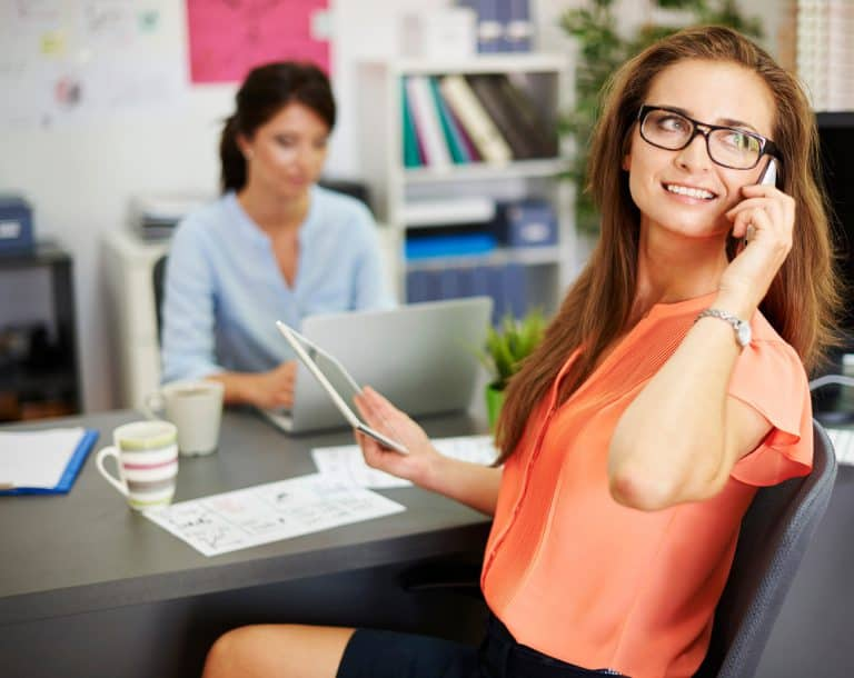 Woman staying in touch with customers