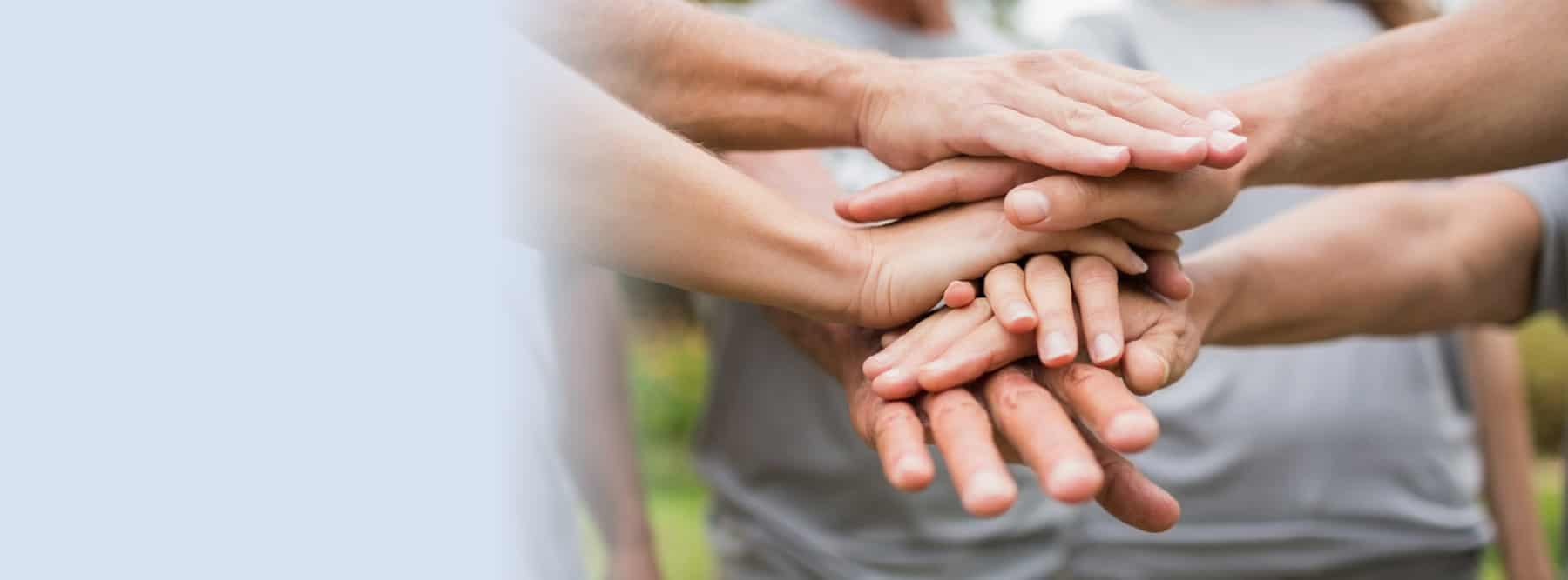Support by donation - people holding hands